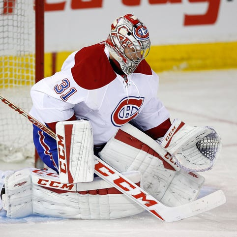 Montreal Canadiens goalie Carey Price makes a save against the Edmonton Oilers.