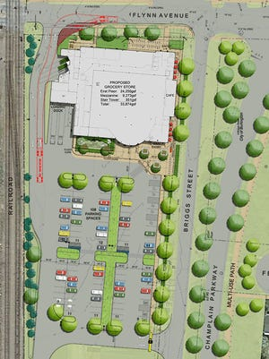 An updated plan for City Market's proposed South End branch shows its entrance on Flynn Avenue. When the Champlain Parkway is completed (currently estimated to be in 2019), traffic to the food store will be able to use a Briggs Street entrance.