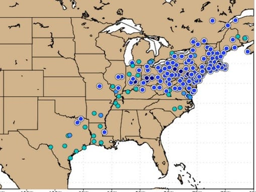 Dozens of record lows were set Tuesday morning across