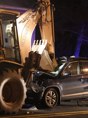 A car traveling north on Rt. 17 in Sloatsburg collided with a backhoe near Sunnyside's Bar and Grill.