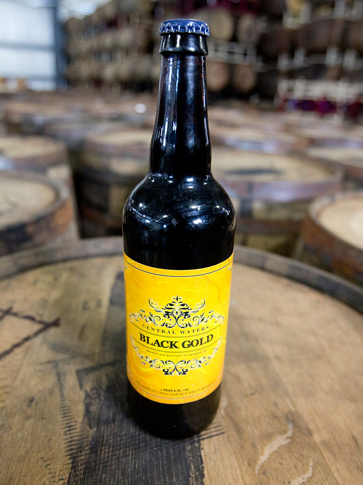 """""""Black Gold,"""" the brewery's anniversary beer aged for"""