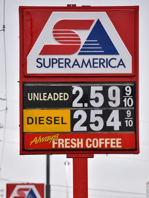 Gasoline prices for regular unleaded were mostly at $2.59 around town Thursday, Oct. 9, as they were at this SuperAmerica at 22nd Avenue and Minnesota Highway 23 in St. Cloud.