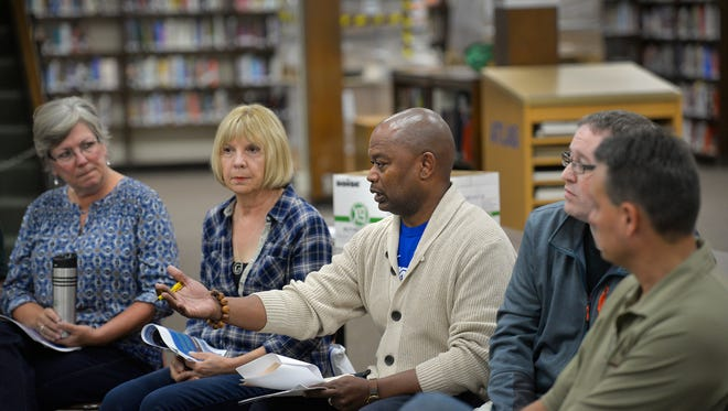 Superintendent Willie Jett lays out some of the district's perspectives on repurposing Technical High School on Saturday, Sept. 17, 2016, during a meeting in the school's media center.