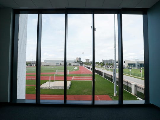 A view from an advisor's office at Glass Hall during a tour on Monday, August 14, 2017.