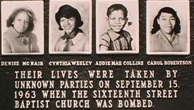 KKK's bombing of Birmingham church on Sept. 15, 1963, killed four girls.