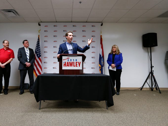 Republican Josh Hawley speaks at a campaign event on