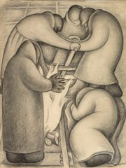 """Diego Rivera's 1927 crayon drawing, """"Sawing Rails, Moscow,"""" is displayed now in the """"Art as Activism"""" exhibit at Baker Art Museum."""