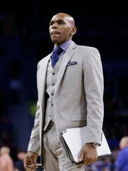 Raptors assistant coach Jerry Stackhouse is seen during the second half of a game against the Pistons at the Palace on Feb. 28, 2016.