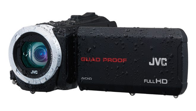 The JVC Everio Quad Proof camcorder resists drops, dust, cold weather and water.