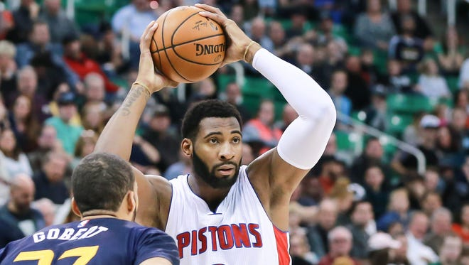 Pistons center Andre Drummond looks to pass against the Jazz on Jan. 13, 2017.