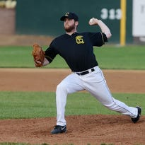 Joe Bircher pitches for the Canaries as they play the Quebec Capitales in Tuesday night's game in Sioux Falls, May 26, 2015.