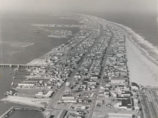 Ariel view of 1970s Ocean City — Courtesy of The Ocean City Life-Saving Station Museum, collection of George and Suzanne Hurley