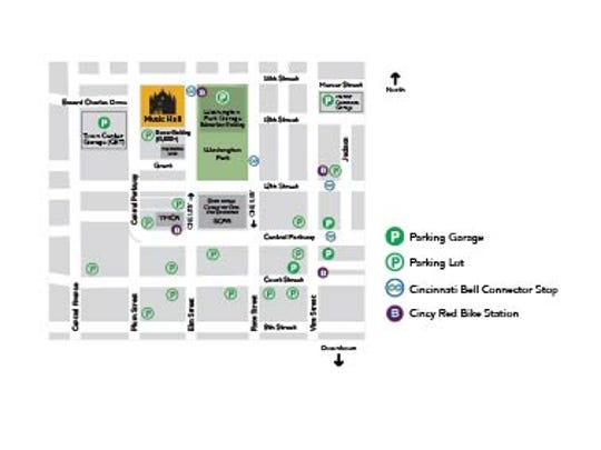 A map showing parking around Music Hall.