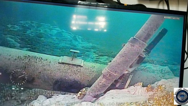 An image, taken from Enbridge's reports, shows the damage on an anchor support holding up Line 5's east leg.