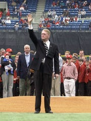 Jim Bunning took the mound at Veterans Stadium, where his No. 14 jersey was retired.