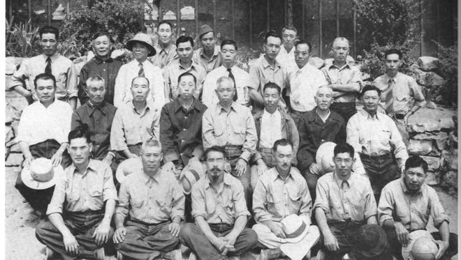 Japanese internees in Lordsburg are seen in this historic photo.