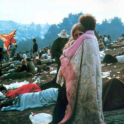 Iconic image from the 1969 Woodstock festival.