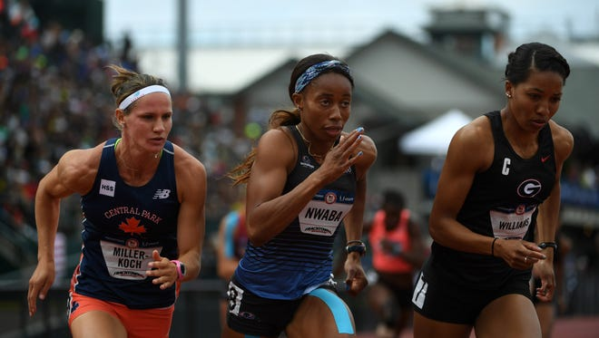 Former St. Cloud State University standout Heather Miller-Koch, far left, competes alongside Barbara Nwaba, center, and Kendell Williams, right, during the heptathlon at the U.S. Olympic Trials in Eugene, Oregon, earlier this month. All three athletes will represent the U.S. in the Olympics in Rio de Janeiro.