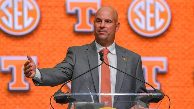 Tennessee Volunteers head coach Jeremy Pruitt addresses the media during SEC Football Media Days at the College Football Hall of Fame in Atlanta on Wednesday, July 18, 2018.