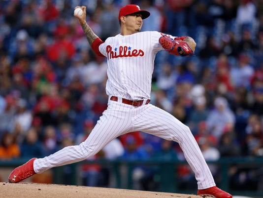 Philadelphia Phillies starting pitcher Vince Velasquez (28) throws in the first inning of a baseball game against the Washington Nationals, Saturday, May 6, 2017, in Philadelphia. (AP Photo/Laurence Kesterson)