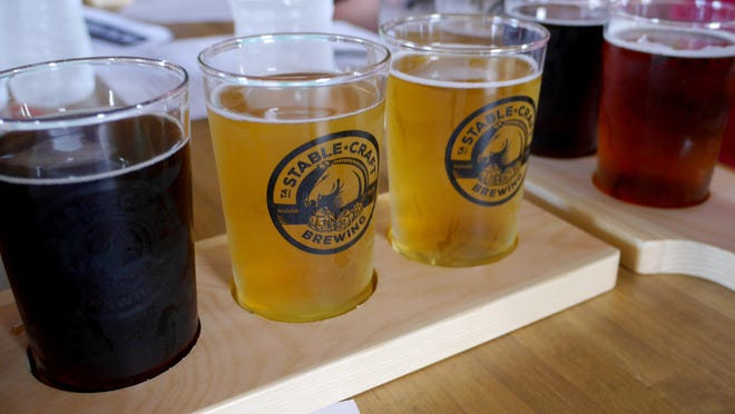 A tasting flight at Stable Craft Brewing in Augusta County outside of Waynesboro on Thursday, June 9, 2016.