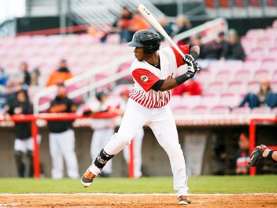 Volcanoes Manuel Geraldo up to bat in the season opener