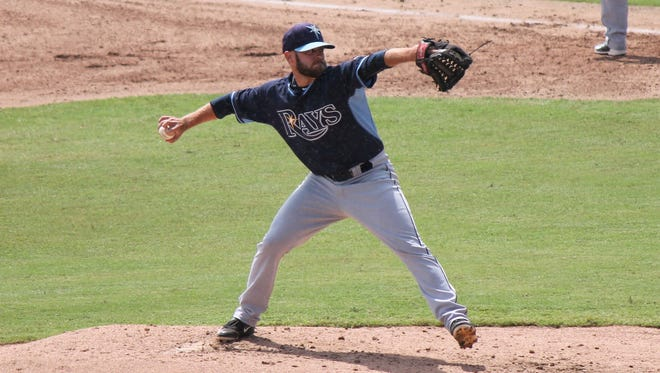 LaGrange's V.J. Collins pitching for the Rays of the Gulf Coast League.