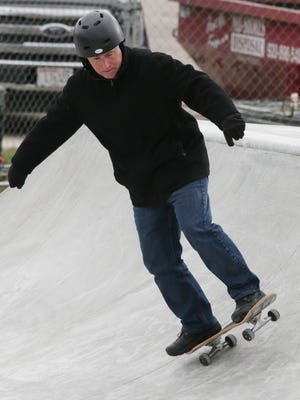 Sheboygan Director of Public Works Dave Biebel tries out the nearly done skate park, Tuesday, December 5, 2017 at Kiwanis Park in Sheboygan, Wis.
