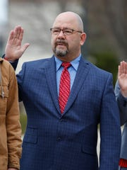 District 7 Alderman Todd Lotz is sworn-in to the city council Tuesday, Apr. 18, 2017, in Manitowoc, Wis. Josh Clark/USA TODAY NETWORK-Wisconsin
