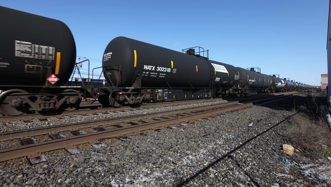 Railroad tank cars in Ridgefield Park, N.J., in April 2014. While fewer trains are carrying crude oil through New Jersey, ethanol remains a risk.