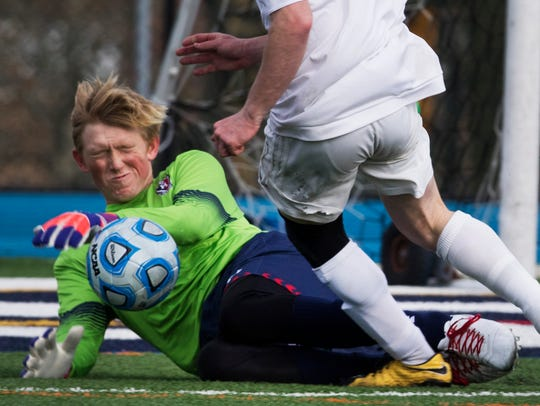 Mendham goalkeeper Ryan Carkhuff grimaces for expected