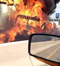 Fiery 18-wheeler crash in Lancaster