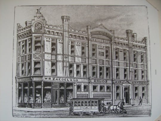 The Zaegel Building (1898) was located on the southeast