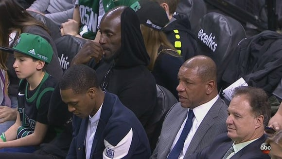 Paul Pierce looked miserable waiting for his ceremony during Celtics-Cavs blowout
