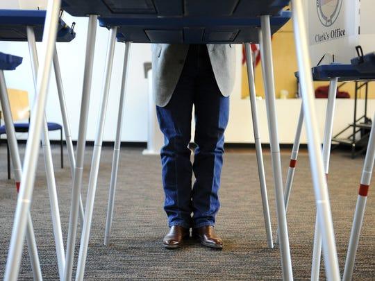 James Gipson votes on March 4, 2014, at the Farmington Public Library.