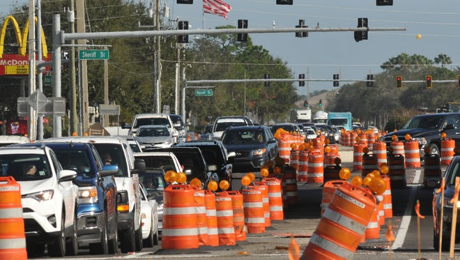 Traffic on Wickham Road near Interstate 95 will be down to one lane in each direction on Thursday, before a total of six lanes of traffic open up on Friday, county officials say.