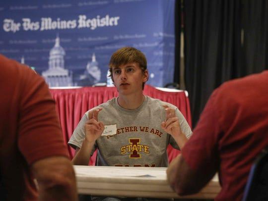 Entrepreneur Pat White speaks during a Des Moines Register
