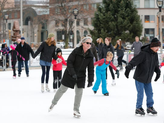 Skaters take advantage of the balmy weather at Slice