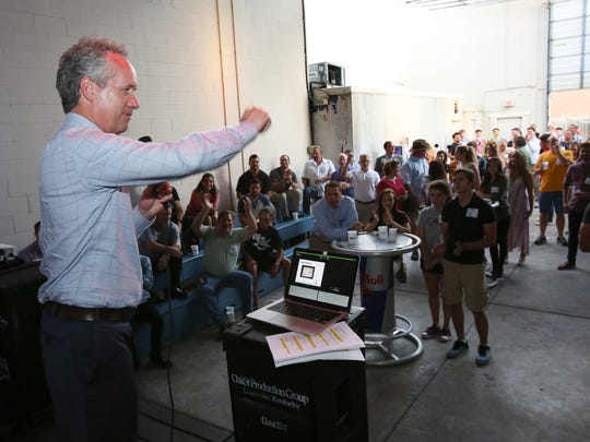 Mayor Greg Fischer greeted the teams as they attended the Red Bull Flugtag event at Galaxie.