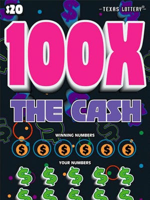 An image of the 100X The Cash scratch game.