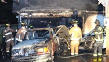 A garage fire at 1455 Mullins Station injured two people and caused $20,000 in property damage.
