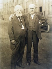 Hudson Maxim and his good friend Thomas Edison outside Edison's laboratory in West Orange.