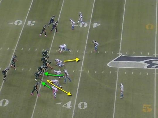 Lions' zone blitz on Caraun Reid's 27-yard fumble return for a touchdown.