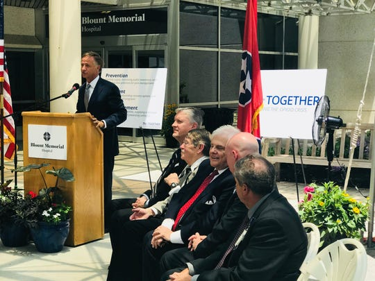 Gov. Bill Haslam spoke before he signed the TN Together law into effect Friday, June 29 outside the Blount Memorial Hospital in Maryville, Tenn.
