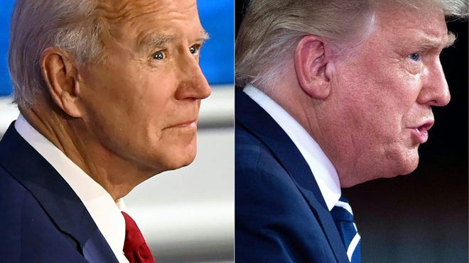 This combination image shows former Vice President Joe Biden and President Donald Trump participating in separate town hall meetings Thursday night.
