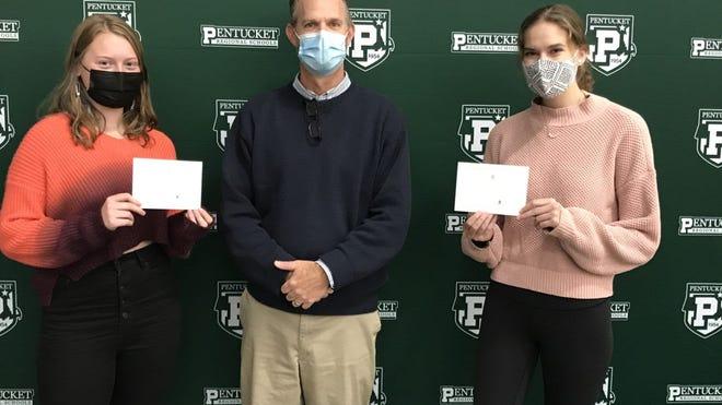 Pictured, from left: Senior Casey Pedersen, of West Newbury, Pentucket Regional High School Principal Jonathan Seymour and senior Megan Reading, of West Newbury.