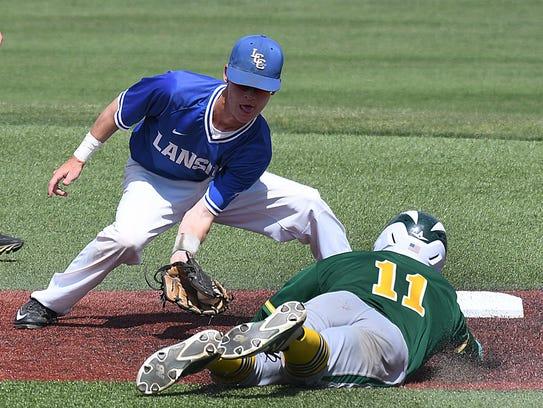 Lansing Community College shortstop Alex Huard readies