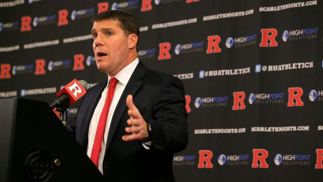 Rutgers head football coach Chris Ash announces the Scarlet Knights' 29 member recruiting class during National Signing Day at Rutgers University's Hale Center in Piscataway, NJ Wednesday February 1, 2017.