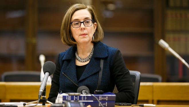 Governor Kate Brown speaks to the media on Monday, Jan. 29, 2018, at the Oregon State Capitol.