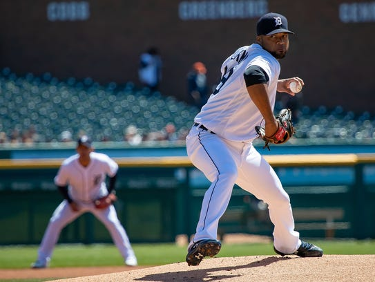 Tigers pitcher Francisco Liriano in the first inning